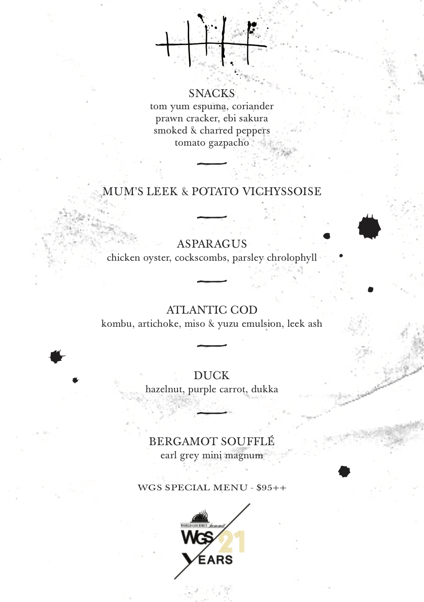 WGS2017 SPECIAL MENU The Tippling Club, 20 March-16 April 2017